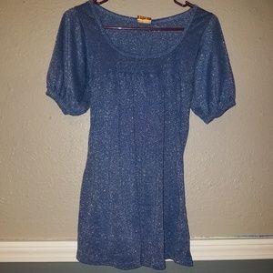 KARLIE Shimmering Diamond Blue Shirt
